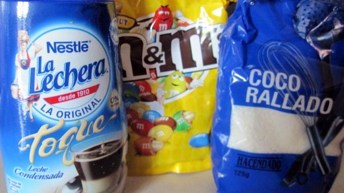ingredientes bolitas coco m&m