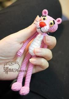 Pantera rosa de amigirumi