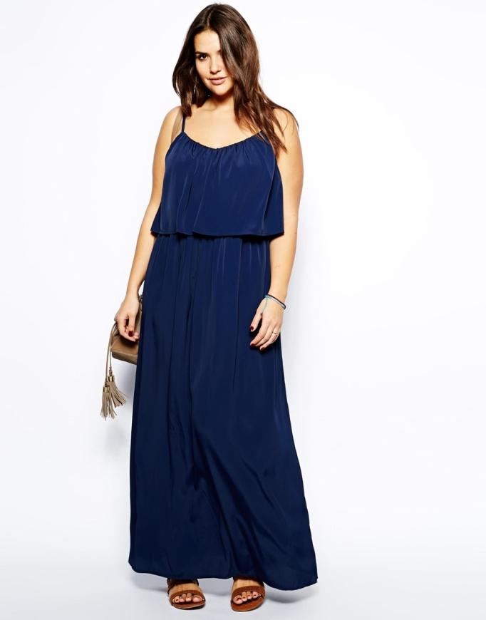 vestido largo azul marino Asos Curve
