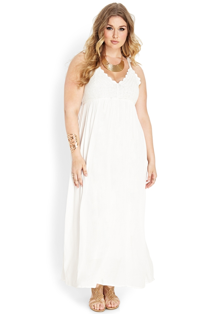vestido largo blanco Forever21
