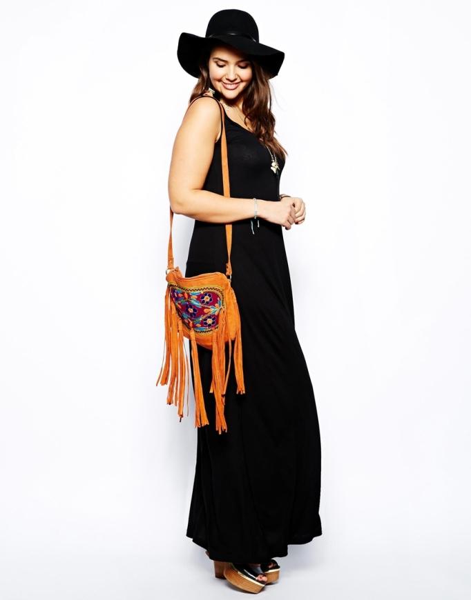 vestido largo negro Asos Curve
