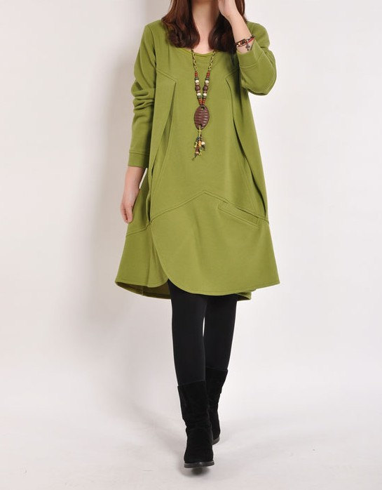 jersey vestido verde