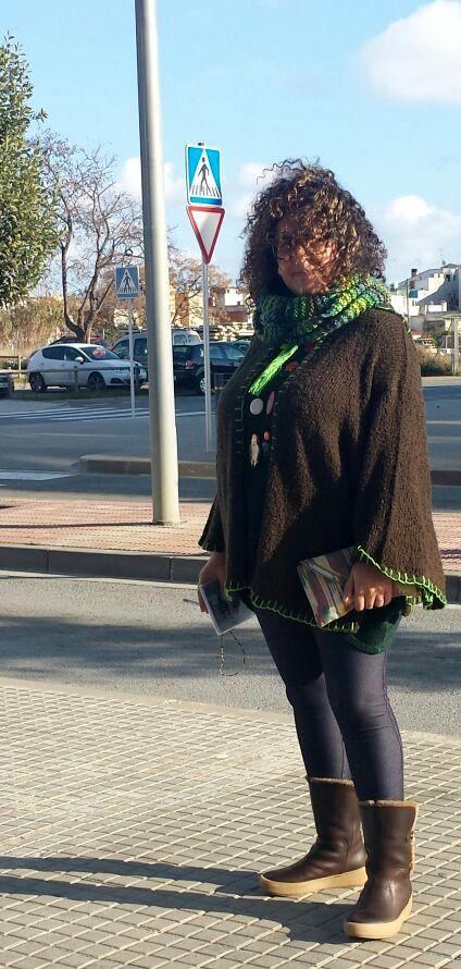 poncho capa verde