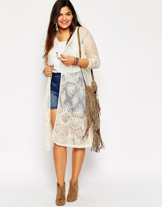 kimono blanco talla grande