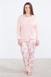 pijama rosa flores