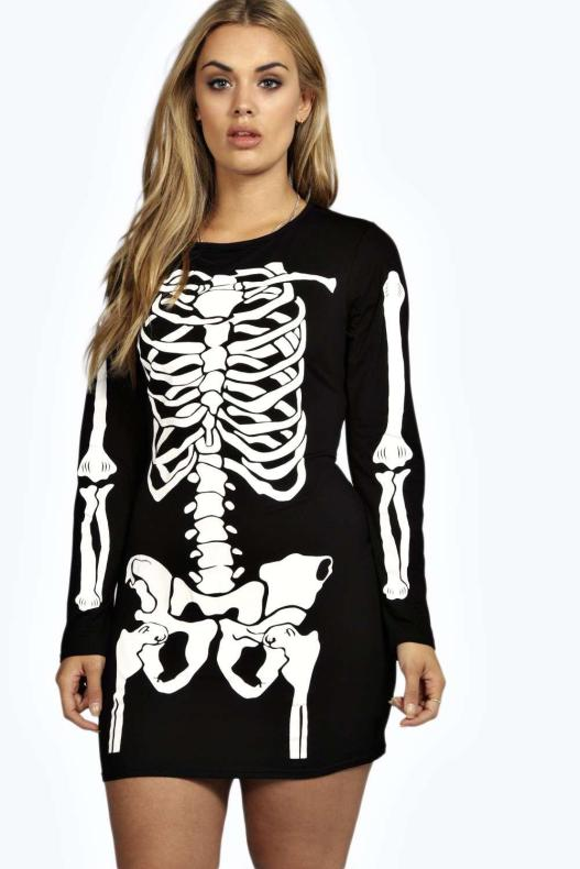vestido de esqueleto talla grande
