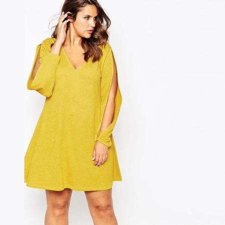 vestido color mostaza talla grande