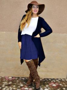 falda lunares azul talla grande