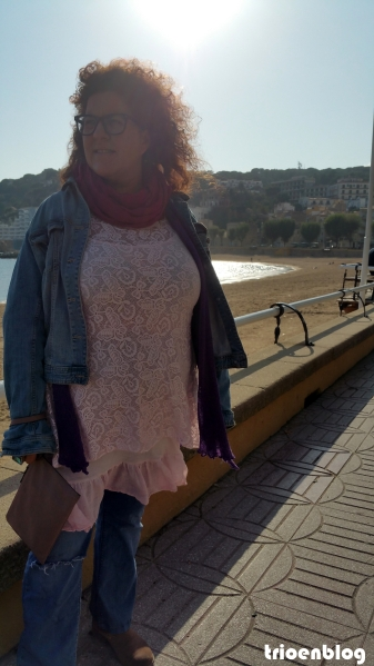 vestido talla grande rosa encaje