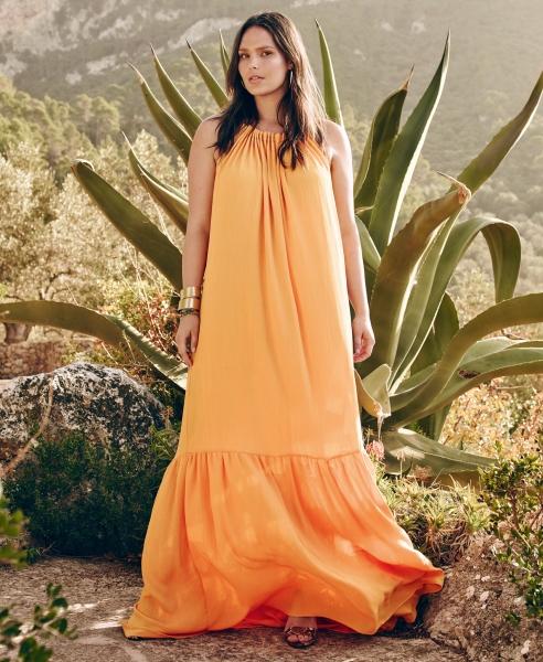 vestido naranja talla grande